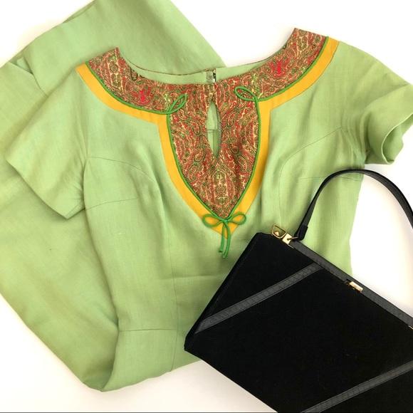 Oleg Cassini Dresses & Skirts - Oleg Cassini Vintage Fitted Linen Shift Dress S